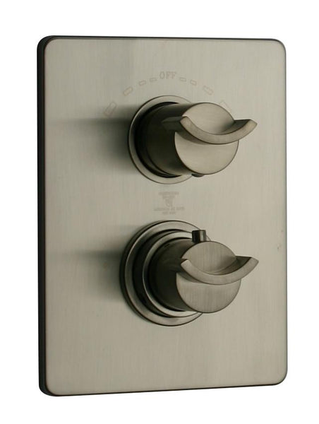 "Latosacana Morgana Thermostatic Valve With 3/4"" Ceramic Disc Volume Control In A Brushed Nickel Finish"