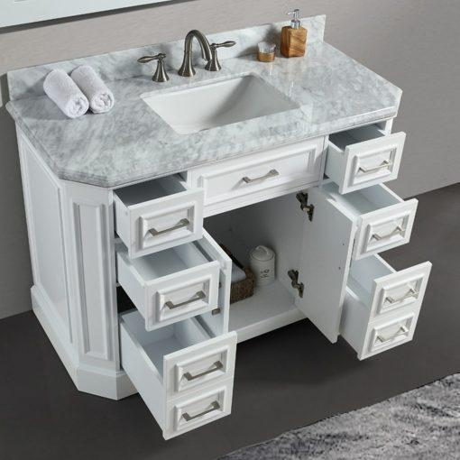 Eviva Glory 48″ Bathroom Vanity with Carrara Marble Counter-top and Porcelain Sink Vanity Eviva