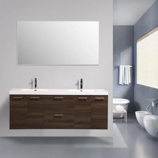 Eviva Luxury 84 inch bathroom vanity with integrated acrylic sinks Vanity Eviva Gray Oak