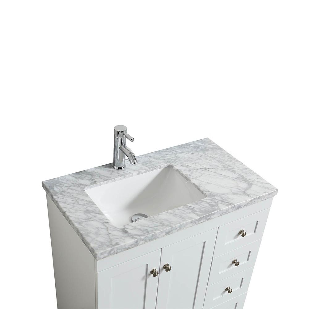Eviva Happy 28″ x 18″ Transitional Bathroom Vanity w/ White Carrara Top Vanity Eviva
