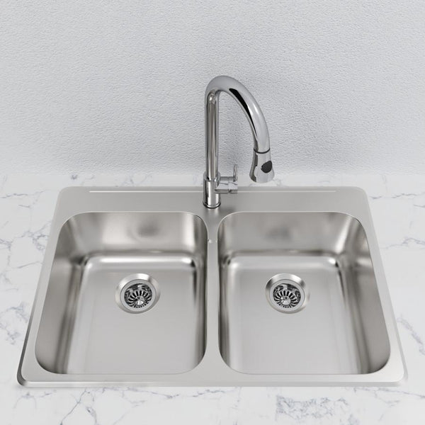 "Cantrio Double Bowl 31 1/4"" Stainless Steel Top Mount Kitchen sink"