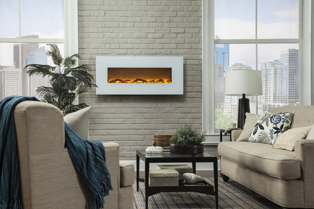 "Touchstone Ivory 50"" Wide Wall Mounted Electric Fireplace Electric Fireplace Touchstone"