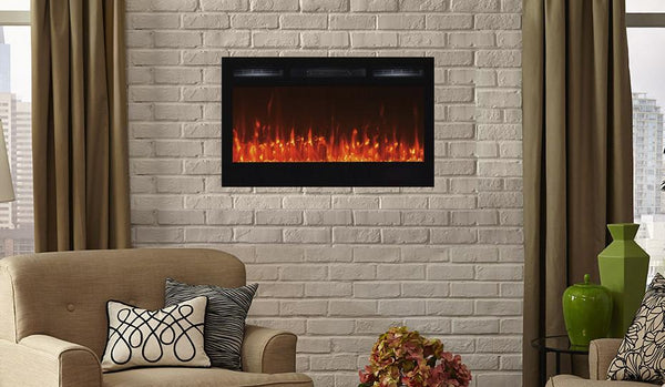 "Touchstone Sideline 36"" Wide (Wall inset design) Wall Mounted Electric Fireplace"