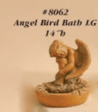 Angel Bird Bath Cast Stone Outdoor Asian Collection