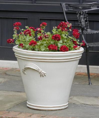 Campania International Glazed Terra cotta Fluted Handle Planter Urn/Planter Campania International
