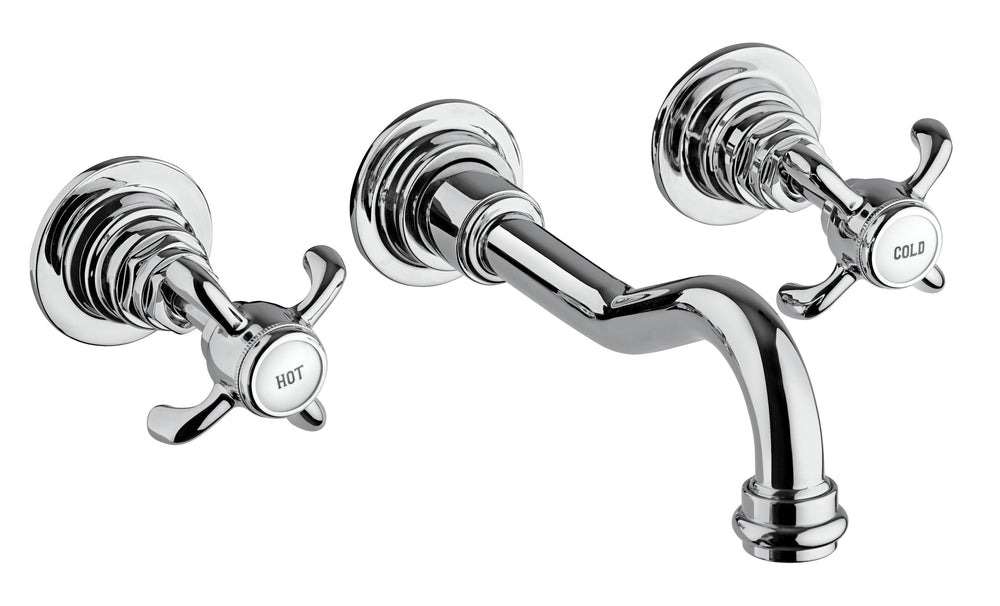 Latoscana Ornellaia Wall Mount With Cross Handles In A Chrome Finish touch on bathroom sink faucets Latoscana