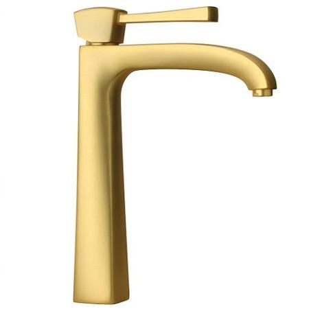 Latoscana Lady Single Handle Tall Lavatory Faucet With Lever Handle InMatt Gold touch on bathroom sink faucets Latoscana