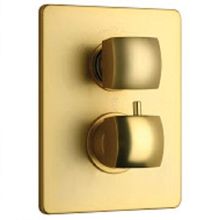 "Latoscana Lady thermostatic valve with 3/4"" ceramic disc volume control in Matt Gold"