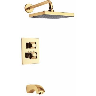 Latoscana Lady thermostatic valve with 2 way diverter in Matt Gold bathtub and showerhead faucet systems Latoscana