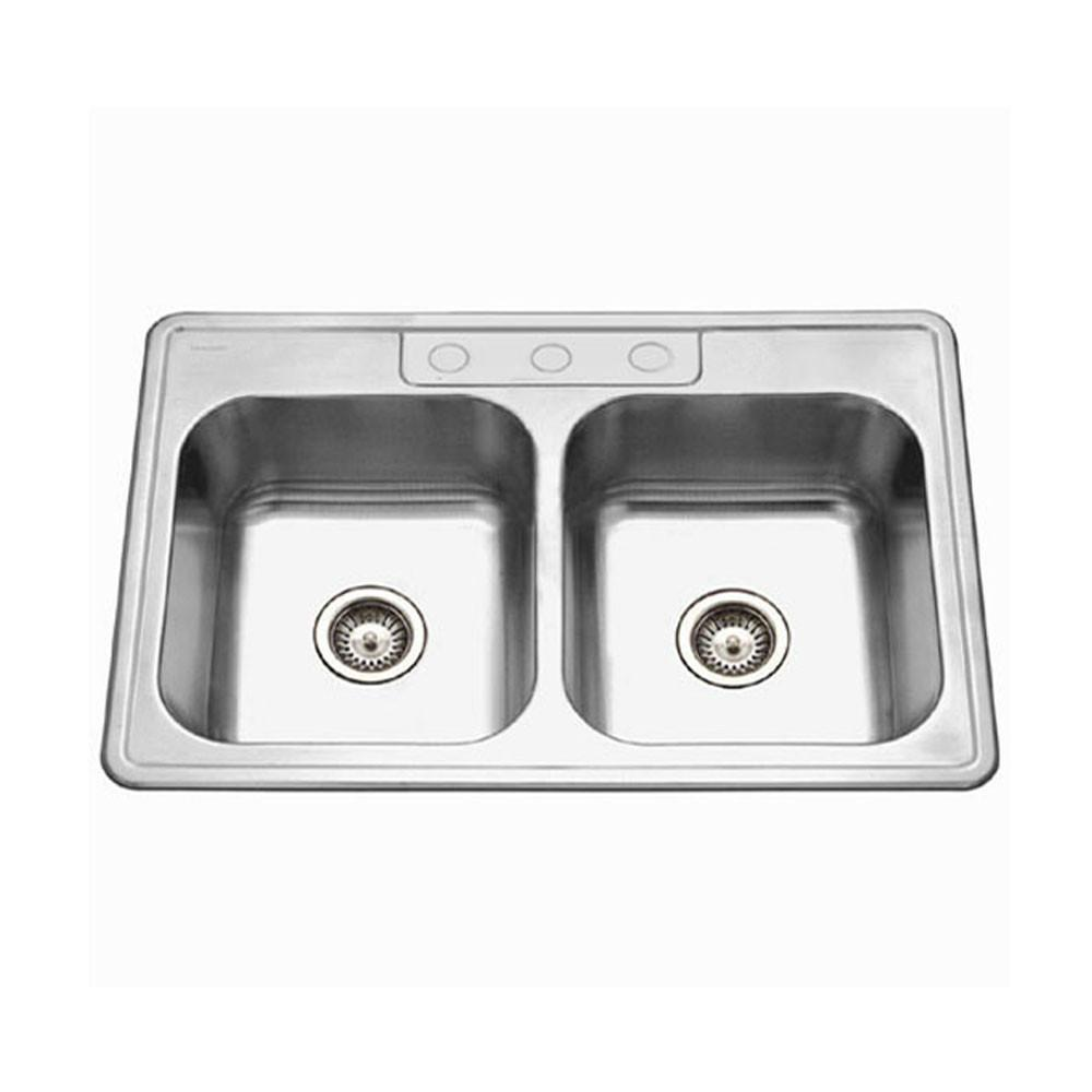 Houzer ADA Glowtone Series Topmount Stainless Steel 3-hole 50/50 Double Bowl Kitchen Sink Kitchen Sink - Topmount Houzer