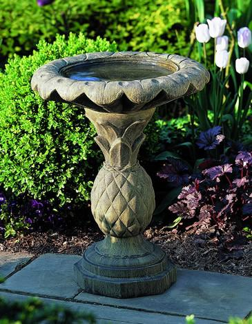 Pineapple Cast Stone Outdoor Garden Birdbath BirdBath Campania International