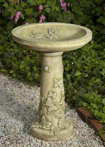 Butterflies Are Free Cast Stone Outdoor Garden Birdbath BirdBath Campania International