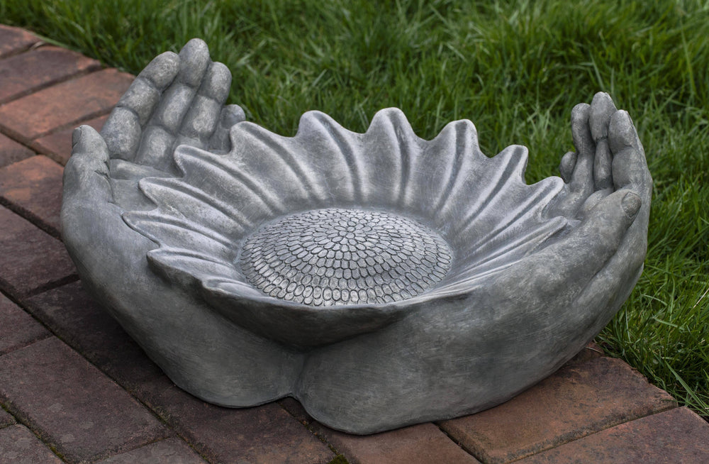 Campania International Cast Stone Summer Sunflower Birdbath BirdBath Campania International