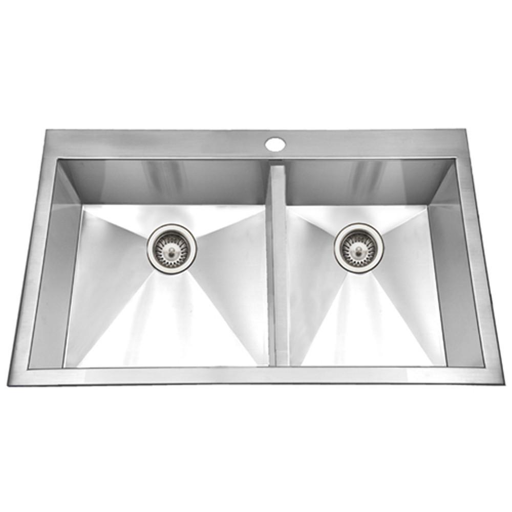 Houzer Bellus Series Zero Radius Topmount Stainless Steel 1-Hole 50/50 Double Bowl Kitchen Sink Kitchen Sink - Topmount Houzer