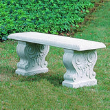 Traditional Straight Cast Stone Outdoor Garden Bench
