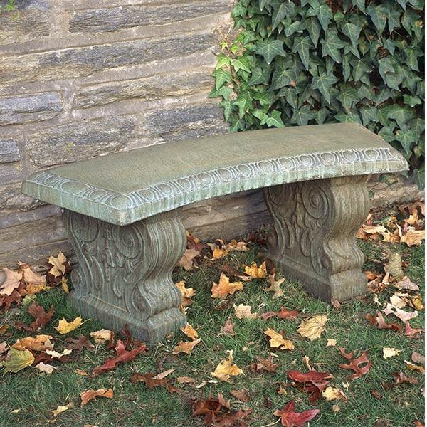 Curved Traditional Cast Stone Outdoor Garden Bench Outdoor Benches/Tables Campania International