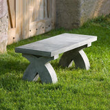 The X Cast Stone Outdoor Garden Bench (3pc)