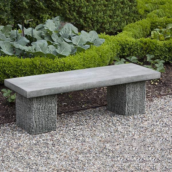Reef Point Cast Stone Outdoor Garden Bench Outdoor Benches/Tables Campania International