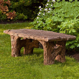 Faux Bois Cast Stone Outdoor Garden Bench