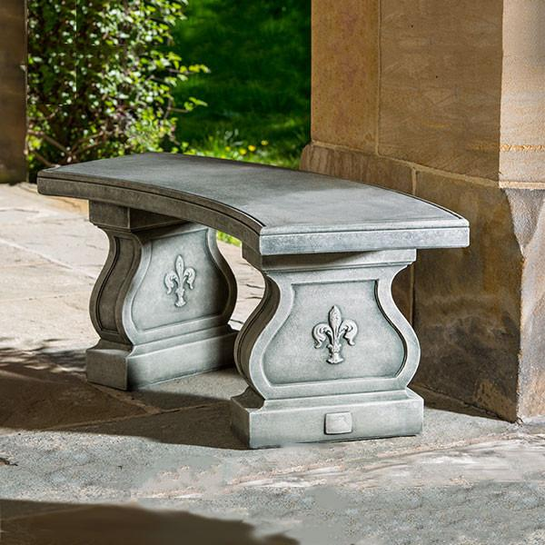 Fleur De Lys Curved Cast Stone Outdoor Garden Bench Outdoor Benches/Tables Campania International