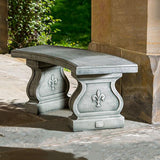 Fleur De Lys Curved Cast Stone Outdoor Garden Bench