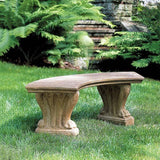 Curved West Chester Cast Stone Outdoor Garden Bench