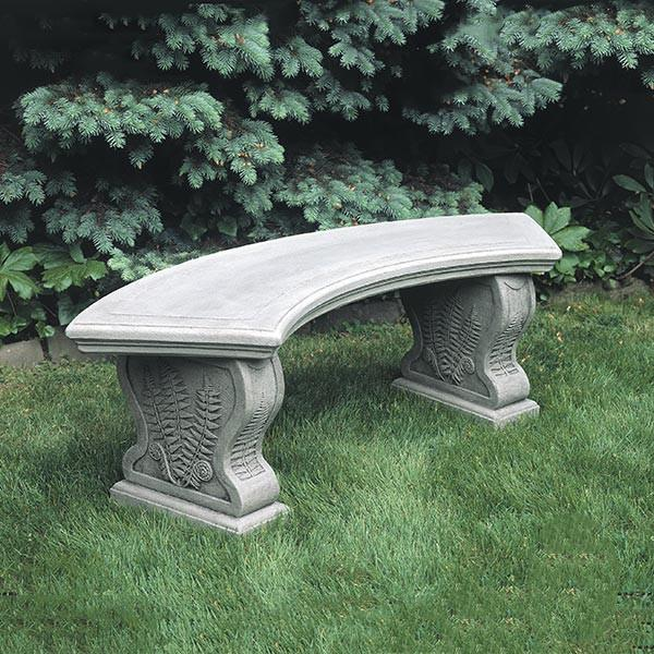 Curved Woodland Ferns Cast Stone Outdoor Garden Bench Outdoor Benches/Tables Campania International