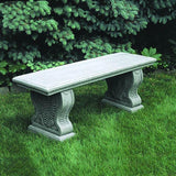 Straight Woodland Ferns Cast Stone Outdoor Garden Bench