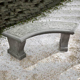 Curved Leaf Cast Stone Outdoor Garden Bench