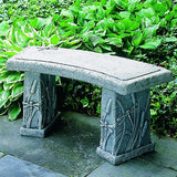 Dragonfly Curved Cast Stone Outdoor Garden Bench
