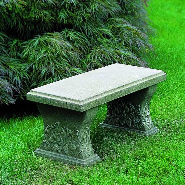 Snowdrop Cast Stone Outdoor Garden Bench Outdoor Benches/Tables Campania International