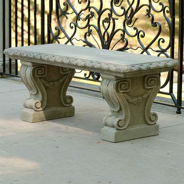 Longwood Main Cast Stone Outdoor Garden Bench Outdoor Benches/Tables Campania International