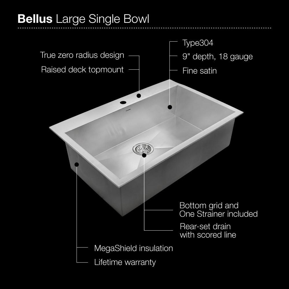 Houzer Bellus Series Zero Radius Topmount Stainless Steel 1-Hole Large Single Kitchen Sink Kitchen Sink - Topmount Houzer