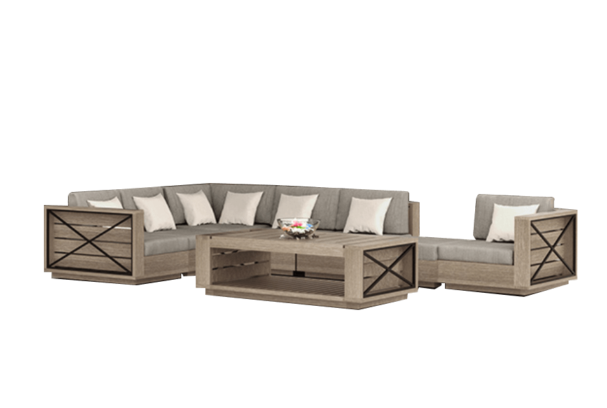 Banner Elk Sectional 8 Piece Set Outdoor Furniture Tuscan
