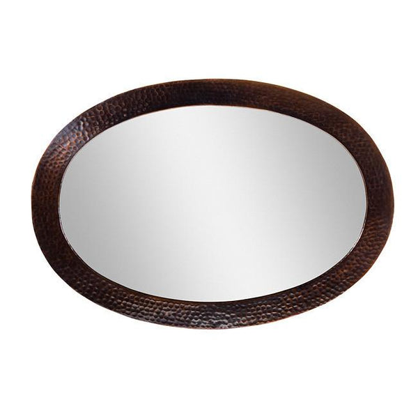 Solid Hammered Copper Framed Oval Mirror - Antique Copper