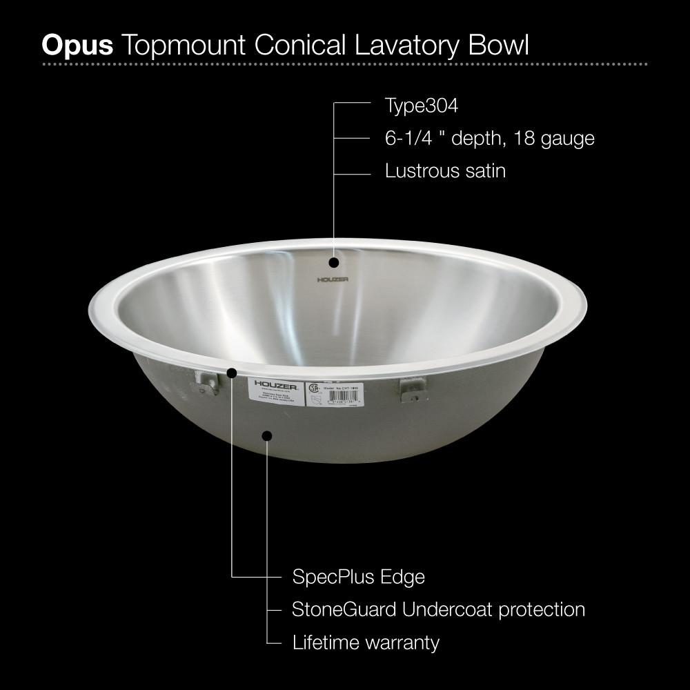 Houzer CRT-1620-1 Opus Conical Topmount Stainless Steel Bowl Lavatory Sink Bathroom Sink - Topmount Houzer