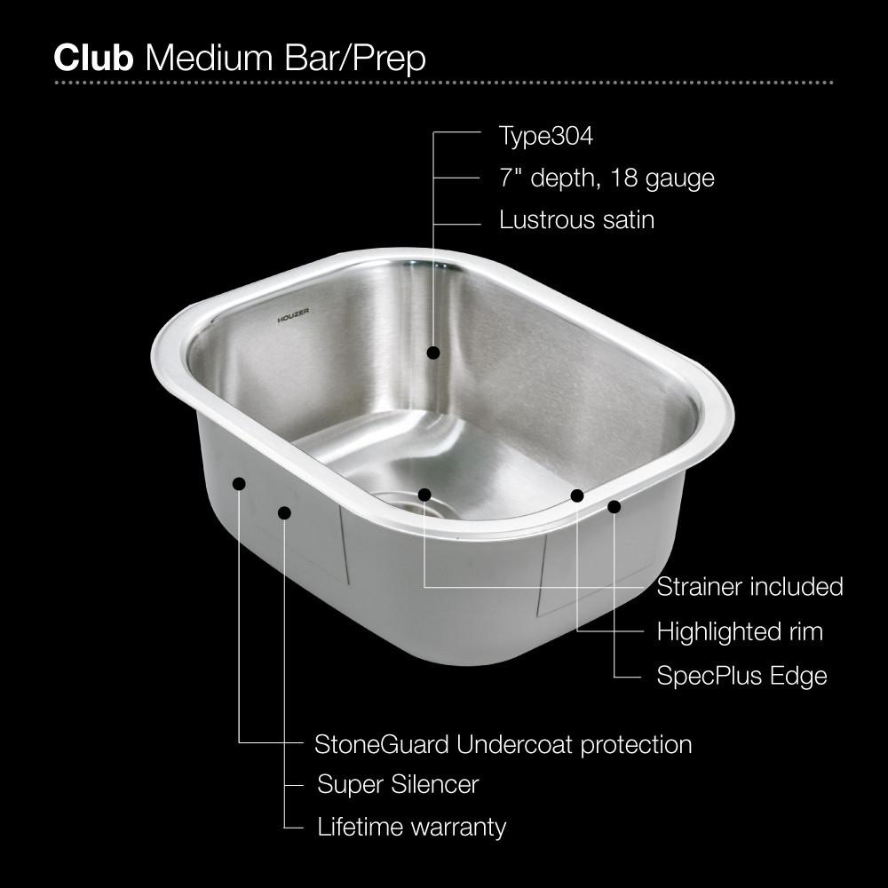 Houzer CS-1407-1 Club Series Undermount Medium Bowl Bar/Prep Sink Bar Sink - Undermount Houzer