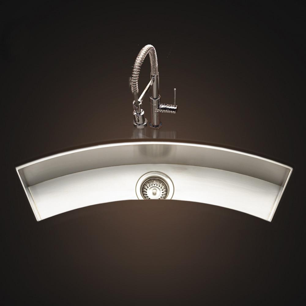 Houzer Contempo Trough Series Undermount Stainless Steel Curved Bowl Bar/Prep Sink Bar Sink - Undermount Houzer
