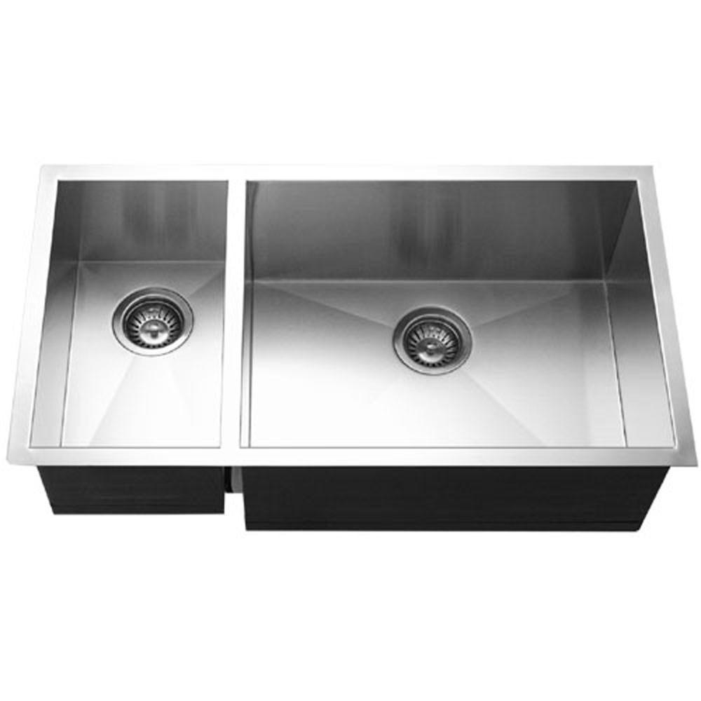 Houzer Contempo Series Undermount Stainless Steel 70/30 Double Bowl Kitchen Sink, Prep bowl left Kitchen Sink - Undermount Houzer