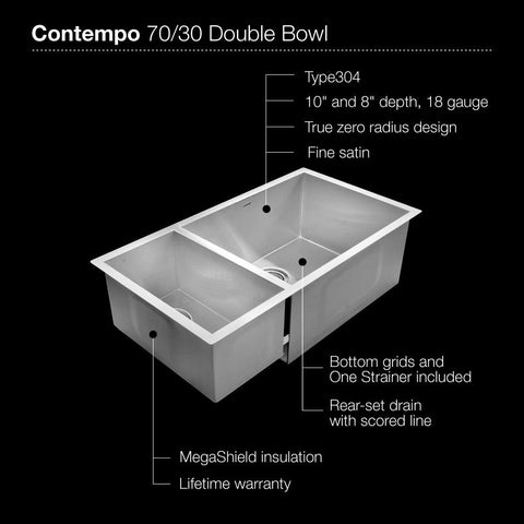 ... Houzer Contempo Series Undermount Stainless Steel 70/30 Double Bowl  Kitchen Sink, Prep Bowl ...