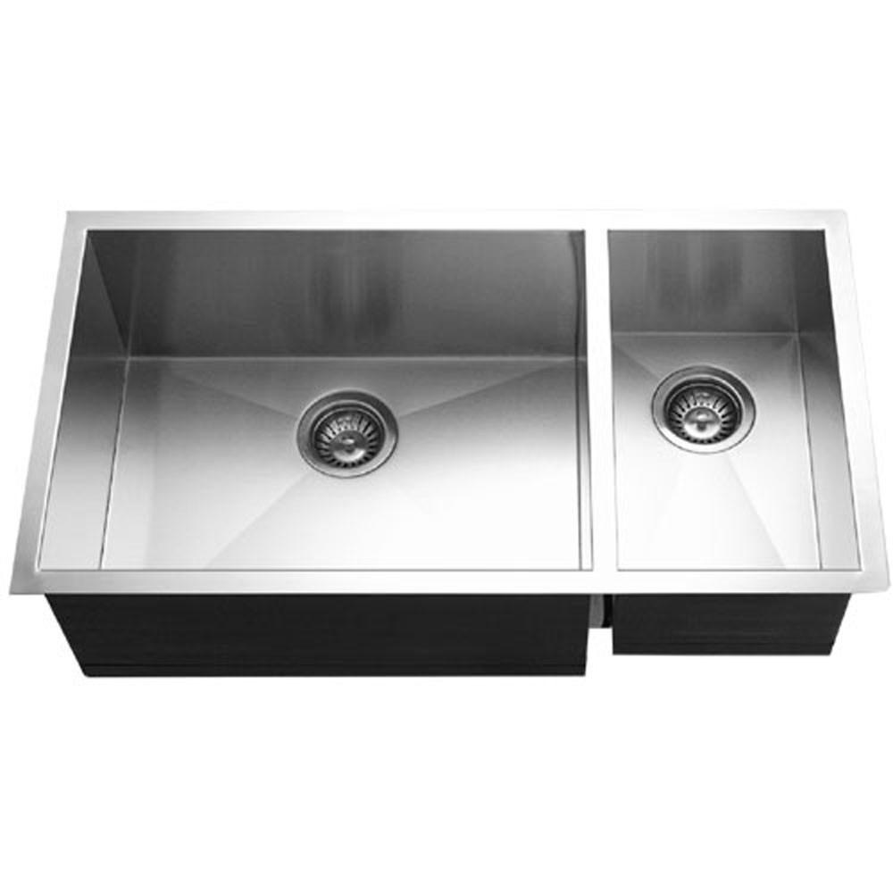 Houzer Contempo Series Undermount Stainless Steel 70/30 Double Bowl Kitchen Sink, Prep bowl Right Kitchen Sink - Undermount Houzer