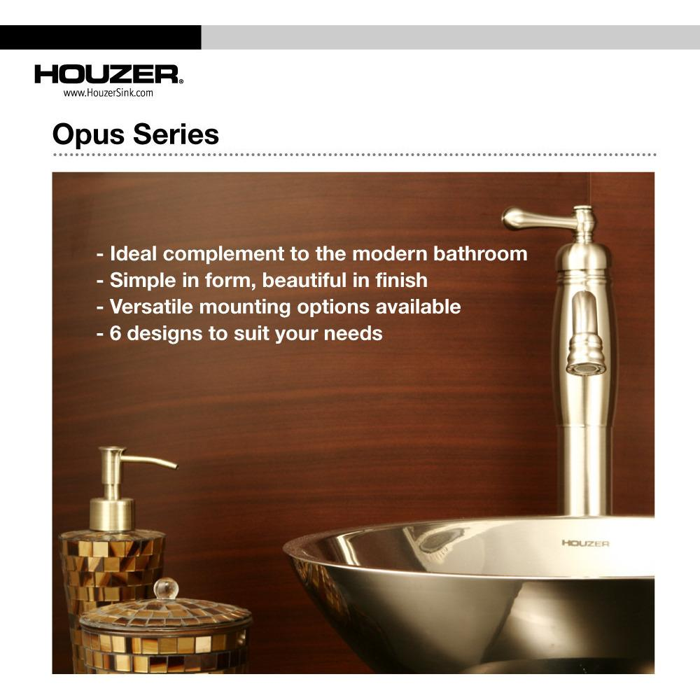 Houzer Opus Series Topmount Stainless Steel Lavatory Sink, Mirror Finish Bathroom Sink - Undermount Houzer