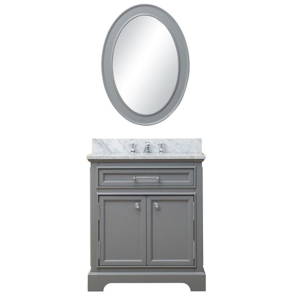 "Derby 30"" Cashmere Grey Single Sink Bathroom Vanity With Matching Framed Mirror"