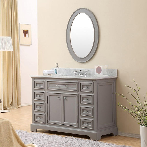 "Derby 48"" Cashmere Grey Single Sink Bathroom Vanity With Matching Framed Mirror"