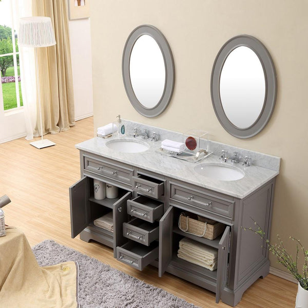 Derby 60 Quot Cashmere Grey Double Sink Bathroom Vanity With