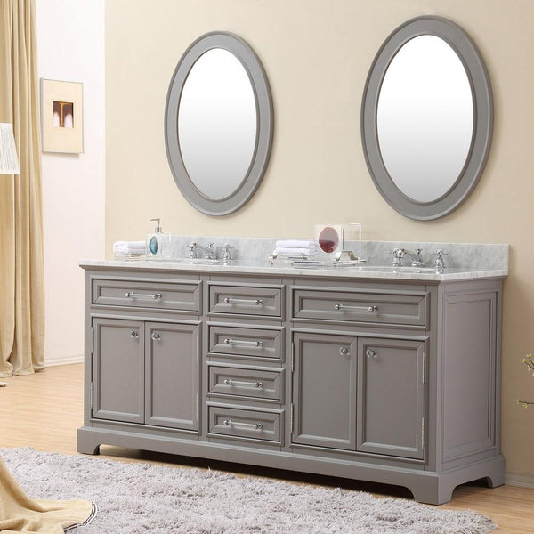 "Derby 72"" Cashmere Grey Double Sink Bathroom Vanity With Matching Framed Mirrors"