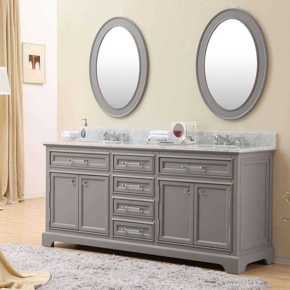 """derby 72"""" cashmere grey double sink bathroom vanity only"""