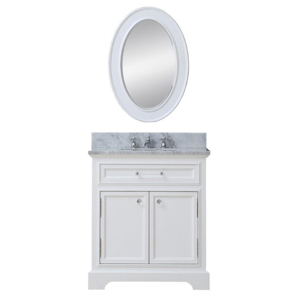 "Derby 24"" Solid White Single Sink Bathroom Vanity With Matching Framed Mirror"
