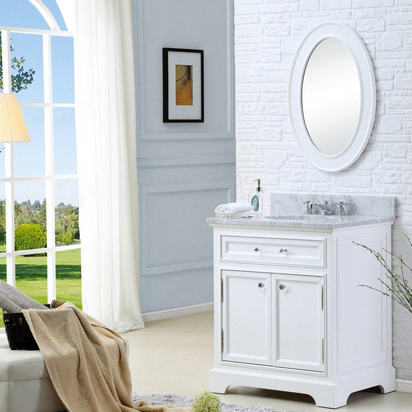 "Derby 30"" Solid White Single Sink Bathroom Vanity With Matching Framed Mirror And Faucet"
