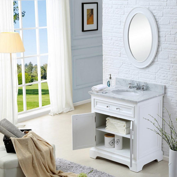 "Derby 30"" Solid White Single Sink Bathroom Vanity With Matching Framed Mirror"